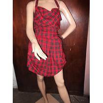 Mini Vestido Rojo Escoces Glam Punk Rock Escote Espalda