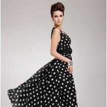 Vestido Largo Retro De Bolas Elegante Envío Gratis 1020