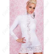 Sexy Mini Vestido Moda Blanco Con Mangas Encaje Y Tanga