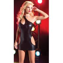 Sexy Mini Vestido Negro Asimetrico Con Aberturas En Costados