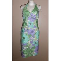 Ann Taylor Loft! Vestido Halter Verde Con Morado, Talla 4