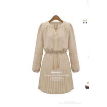 Suku 90853 Elegante Vestido Tableado Cuello V Moda Japón$709