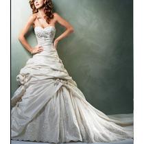 Vestido Novia T12 +mantilla+torero, Rebordado En Cristales