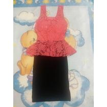 Vestido Corto Lycra, Falda Negra Blusa Coral De Tirantes