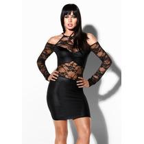 Mini Vestido Moda Sexy Negro Encaje Mangas Largas Escote
