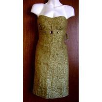 Hermoso Vestido Verde-dorado, Talla 4. Chica. Pedrería