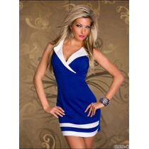 Moda 2013 Antro Sexy Mini Vestido Azul Blanco Con Cuello