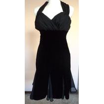 Vestido Negro Terciopelo Y Shifon Tipo Halter Talla 4 Vt169