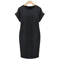 Mini Vestido Negro, Cómodo, Casual, Talla Grande