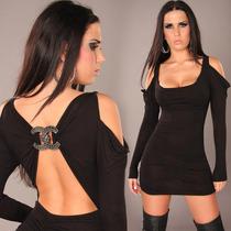 Vestido Sexy Corto Negro O Beige Antro Fiesta