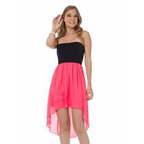 Vestido Strapless Combinado Con Cola De Pato Poliester