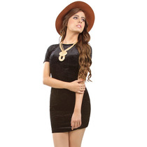 Vestido Casual Hermoso Terciopelo Negro