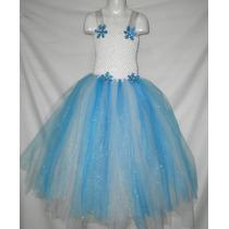 Vestido Largo Dress Tutu Disfraz Cumpleaños Niña 5 - 7 Años