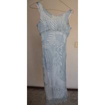 Talla 16 Años Vestido De Seda Color Azul! Vn125