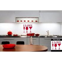Vinilo Decorativo I Love Sala Comedor Cocina #951