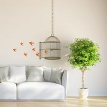 Vinil Decorativo Jaula Con Pájaros