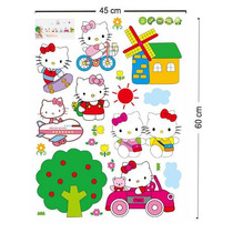 B Vinil Decorativo De Hello Kitty P/ Habitación Infantil