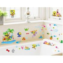 Stickers De Bob Esponja Para Baño / Habitación Infantil