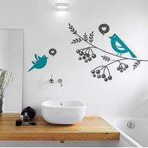 Vinilo Decorativo Rama Y Pájaros Sala Recamára Sticker Vinil