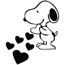 Snoopy Love Hearts - Cartoon Vinilo De La Etiqueta Engomada