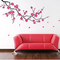 Hermoso Vinilo Decorativo Rama Con Flores Volando