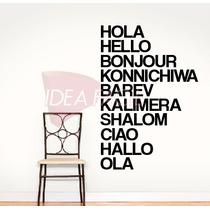 Vinilo Decorativo Texto Hola Hello Idiomas 100 B X 150 A