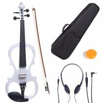 Violin Cecilio Electrico 4/4 Negro Estuche Soporte Blanco