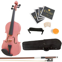 Violin Mendini 4/4 Rosa Con Accesorios
