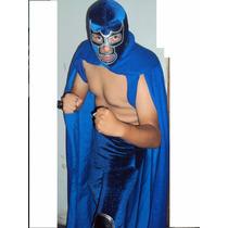 Traje Capa Y Mascara De Luchador Blue Demon Profesional Adul