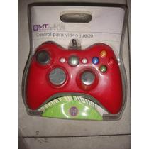 Control Usb Alambrico Compatible Con Xbox 360 Y Pc Rojo Azul