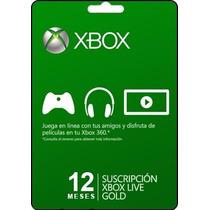 Tarjeta Gift Card Xbox Live Membresia 1 Año Xbox 360 Y One