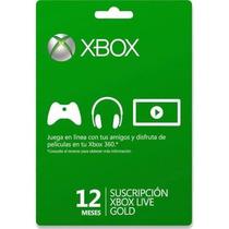 Membresía Xbox Live Gold 12 Meses 1 Año Xbox 360 Xbox One