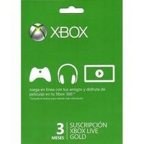 Membrecia De Xbox Live Gold 3 Meses ¡super Oferta!