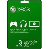 Tarjeta Gift Card Xbox Live Membresia 3 Meses Envio Gratis