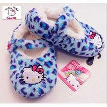 Envio Pantuflas 19 Cms O 22 Cms. Hello Kitty Nina Fuzzy Azul