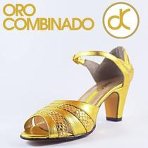 Zapato Oro Combinado Marca David Corsaro