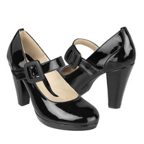 Stylo Zapatos Dama Tacones 27003 Charol Negro