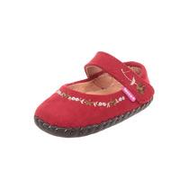 Zapato Para Niña Rojo Piel Gamuza Bordado Pm0