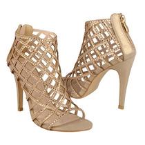 Capa De Ozono Zapatos Dama Tacones 31995-1 Textil Gold