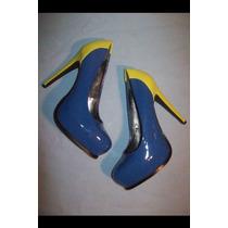 Zapatos Vera Wang Azul Con Verde Limon Talla 6 Americano