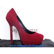 Remato Ysl Zapatos Pump Triptoo Suede Rojos Talla 6 Mx 40 Eu