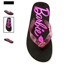 Hot Topic Sandalias Barbie Foil Logo Bling Lips Glitter Flip