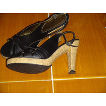 Sandalias De Piel Color Negro Marca Andrea Talla 25.5