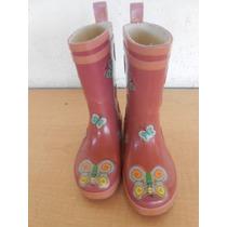 Botas De Lluvia Niñas Rosa Pie 16 Cm. Alto 18 Cm. #22