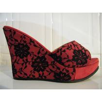 Zapatos Plataforma Tacon Wedge Roja Negro Talla:7 Liquidacio
