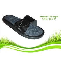 Sandalias De Auto Masaje Color Negro Con Correa Ajustable