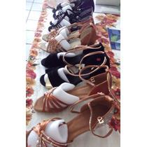 Zapato Para Bailar Ritmos Latinos, Color Negro-dorado $950