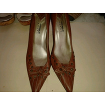 Zapatos De Piel Marca Andrea No.25 Tacon Bajito