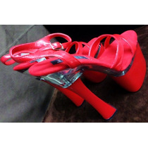 Zapatillas Sexy Rojas Tacon 8 Table Dance Stripper Bailarina