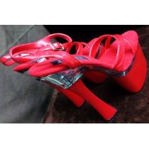 Zapatillas Sexy Rojas Tacon 8 Table Dance Stripper Bailarina
